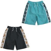 Boys Contrast Beach Print Bermuda Trunks Summer Holidays Swim Shorts Mesh Lined