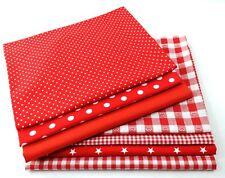 Stoffpaket Karo / Tupfen  rot  Patchworkstoffe  Stoffreste  50 x 30 cm