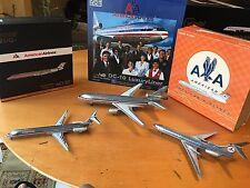 POLISHED METAL  LOT OF 3 AIRCRAFT GEMINI,JC WG,INFLIGHT MD-80,DC-10 And Tu-154M
