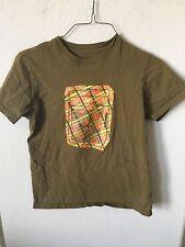 Paul Frank Olive Green Orange Yellow Rare Graphic Short Sleeve Shirt, Size S