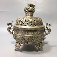 China Dynasty Silver copper carve dragon statue noble big Incense Burner Pot