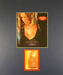 FAITH HILL 2002 CRY TOUR MATTED POSTER & 1995 ORIGINAL BACKSTAGE SATIN PASS