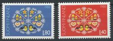 Finland 1988 MNH Set of 2 Stamps - Christmas - Stars - Birds - Hearts - Candles