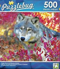 Timber Wolf In Fall Blueberry Bushes ~ 500 Piece Puzzle ~ New