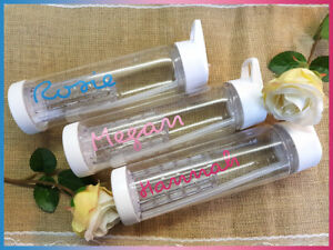 Personalised WATER BOTTLE LOVE Clear ANY NAME Exact Font 12 Colours Island