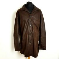 """M&S Mens Leather Coat Size 47-49"""" Brown Hip Length Jacket Overcoat Heavyweight"""