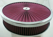 """14"""" x 3"""" Chrome Trimmed Washable Filter Flow Air Cleaner Fits Holley Edelbrock"""