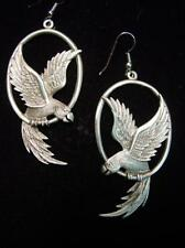 """JJ"" Jonette Jewelry Silver Pewter 'Detailed PARROT' French Wire Earrings"