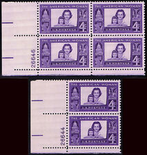 (2) ASSORTED PLATE BLOCKS of #1152 AMERICAN WOMAN 4c