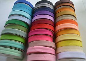 2 m Schrägband Kantenband Einfassband 20mm Baumwolle UNI-Farben 35 Farbvarianten