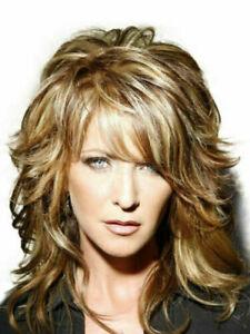 100% Human Hair New Fashio Sexy Medium Brown Mix Blonde Wavy Women's Full Wigs