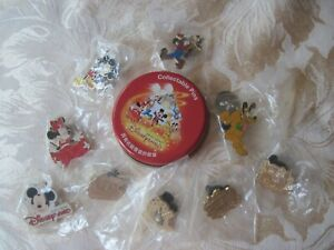 Disney Pin Pins Lot of 9 HONG KONG Tins Mickey Minnie Pluto Goofy Transportation