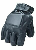 Viper Black Leather Padded Tactical Fingerless Gloves Airsoft Police Security Z1