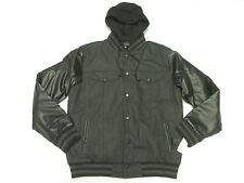 $189 NWT NEW Mens Steve Madden Hooded Varsity Jacket Coat Grey Black Sz XL N282