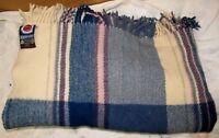 Vtg BERGER PLEDD Tartan Plaid Blue/Purple 48 x 60 Wool Lap Blanket/Throw J0805