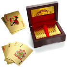 Luxury 24K 54 Gold Plated Foil Playing Cards Poker Deck with Red Wooden Box Gift