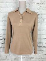 ROWLANDS - Camel Brown Long Sleeve Collared Top - Womens - Size L