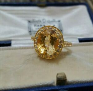 Natural Citrine and White Zircon 925 Sterling Silver Ring, Gold Over,  Size N½