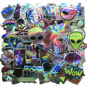 80Pcs Laser Stickers Bomb Tide Brand Alien Skateboard Decals Dope Pack Lot Cool