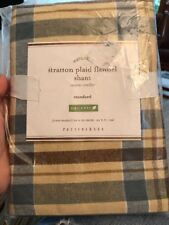 Beige Green Brown Plaid POTTERY BARN Organic Cotton Stratton Flannel Std Sham