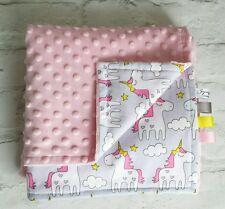 Baby Blanket - Handmade Baby Pink Minky plush - Unicorn 100% cotton.