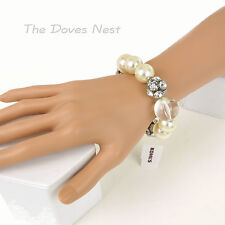 KOHL'S Faux PEARL BRACELET with BALL of Faux CRYSTALS & Large CLEAR BEAD Stretch