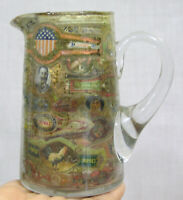 Vtg Tobacciana Blown Glass Pitcher with Cigar Bands Around Inside 1920s