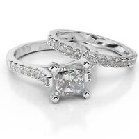 ENHANCED 14K WHITE GOLD PRINCESS CUT DIAMOND ENGAGEMENT RING SET 1.90 CT E-F/SI