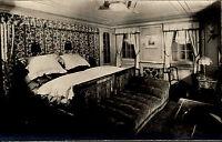 Schiffsfoto Echtfoto-AK ~1930 Luxus-Kabine Dampfer New York Hamburg Amerika Line