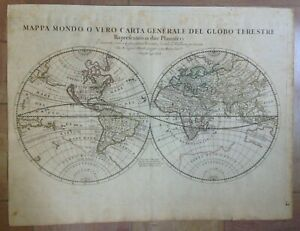 WORLD MAP (CALIFORNIA AS AN ISLAND) 1674 GIACOMO ROSSI LARGE ANTIQUE MAP