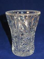 CRYSTAL GLASS VASE Concave Leaf Pattern and Sawtooth Border
