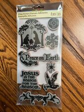 Nativity Religious Christmas Rubber Cling Stamp Set Recollections NEW!