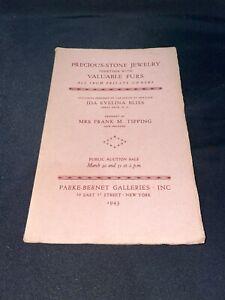 Precious Jewelry, Furs 1943 Parke-Bernet Auction Catalog ~ Ida Evelina Bliss