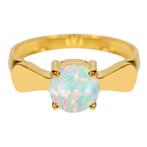 1.00Ct Round Shape AA Natural Australian Full Fire Opal Ring In 14KT Yellow Gold