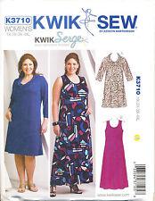 KWIK SEW SEWING PATTERN 3710 WOMENS SZ 1X-4X PULLOVER DRESS & MAXI IN PLUS SIZES