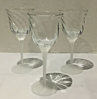 VINTAGE Crystal Clear Ind. Optic Swirl Wine Goblets VALERIE FROSTED 3-Piece Set