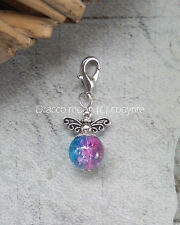 Blue Pink Clip on Glass Bead Fairy Guardian Angel Bracelet Charm Wiccan UK