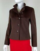 Akris New 8 US 44 IT M Brown Wool Angora Blazer Jacket Coat Runway Auth