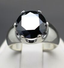 "4.40cts 10.66mm Real Natural Black Diamond Ring AAA Grade & $2405 Value''''"""""""