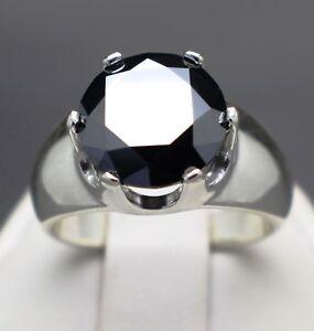 4.50cts 10.56mm Real Natural Black Diamond Ring AAA Grade & $2500 Value'