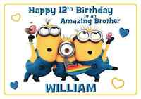 minions personalised A5 birthday card son daughter niece nephew sister name age
