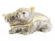 Wombat Jewelled & Enamlled Trinket Box or Figurine - Boxed