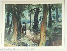 "John Pike Watercolor Litho Print ""Rainy Tryst"" 22"" X 30"" W/ Original Cover"