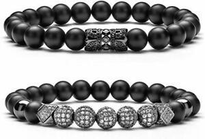 8mm Charm Beads Bracelet for Men Women Zircon Accessories Black Matte Bracelets