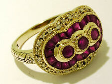 C157- SUPERB Genuine 9K Solid Gold NATURAL RUBY & DIAMOND Ring made in your size