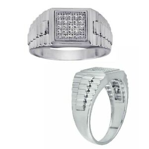 Men's Sterling Silver Micro Pave Cubic Zirconia Stones Square Shape Ring