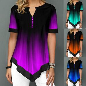 Women V Neck Short Sleeve T-Shirt Summer Gothic Irregular Casual Blouse Tops Tee