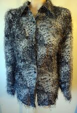 Faux fur shirt jacket LARGE leopard tiger gray silver hippy gothic punk mohair l