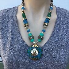 NL-166 Antique Handmade Nepalese Artisan Tibetan Turquoise Coral Necklace
