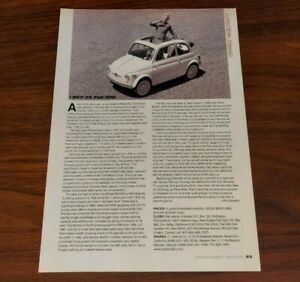 FIAT 500 MAGAZINE ARTICLE 1957-75 COLLECTIBLE CLASSIC VINTAGE SELECTION PRINT